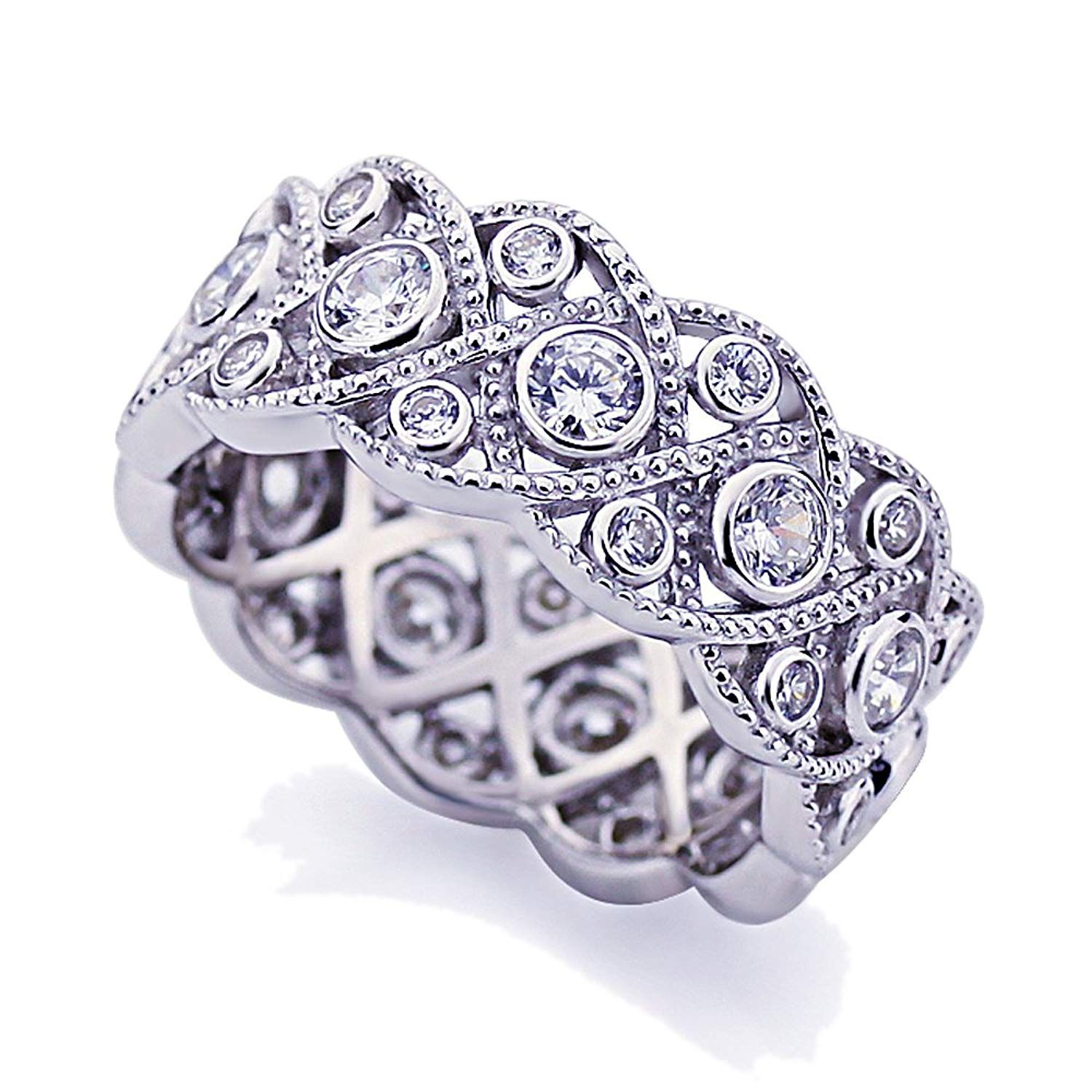 Platinum Plated Sterling Silver 1.75ct CZ Wedding Band