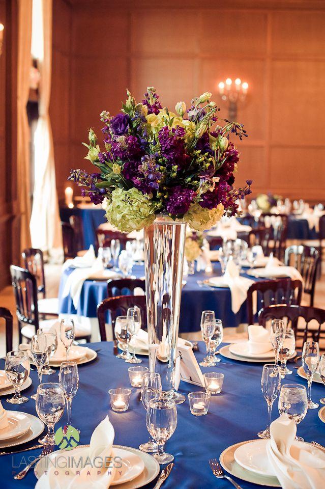 Purple blue green wedding reception clear cylinder tall