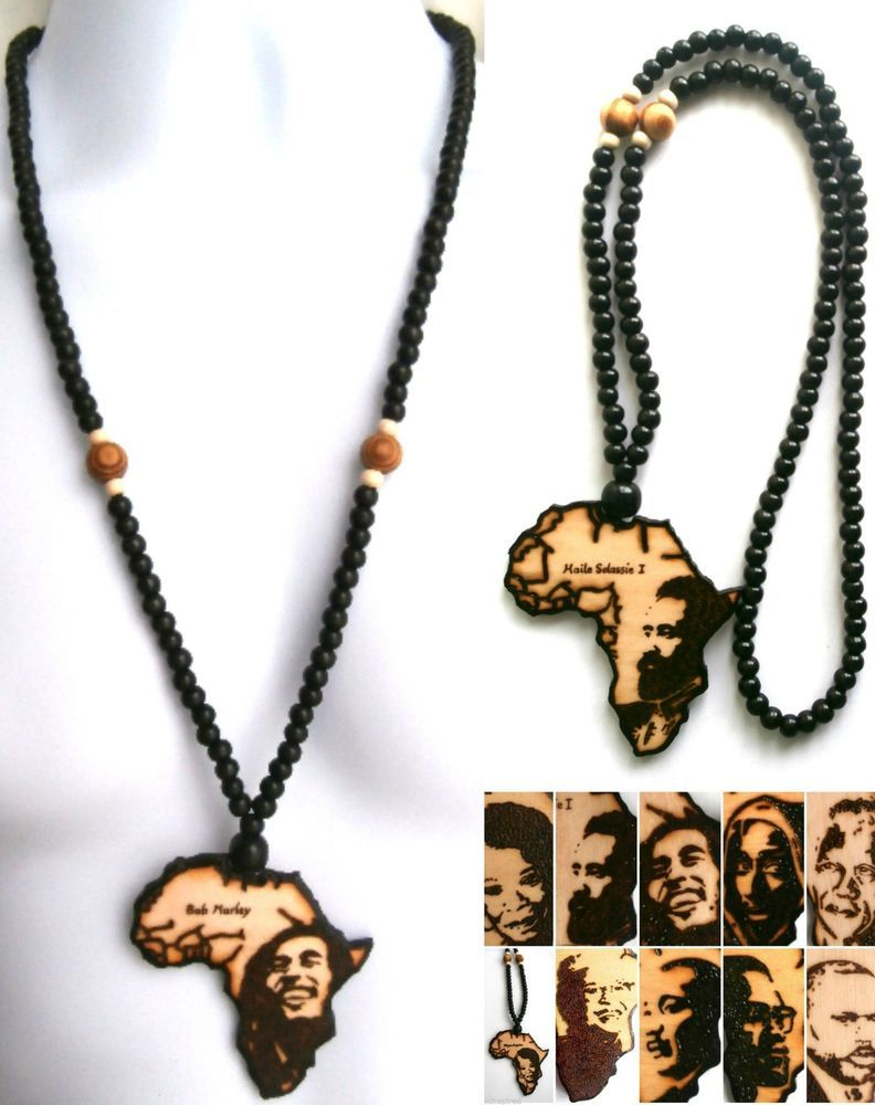 Africa Necklace Mens African Necklace Wood Beaded Necklace Black - Chicago map necklace