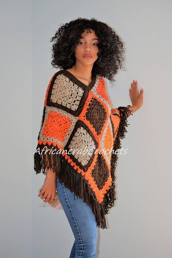 Crochet Granny Square Poncho/ All Year Round Poncho
