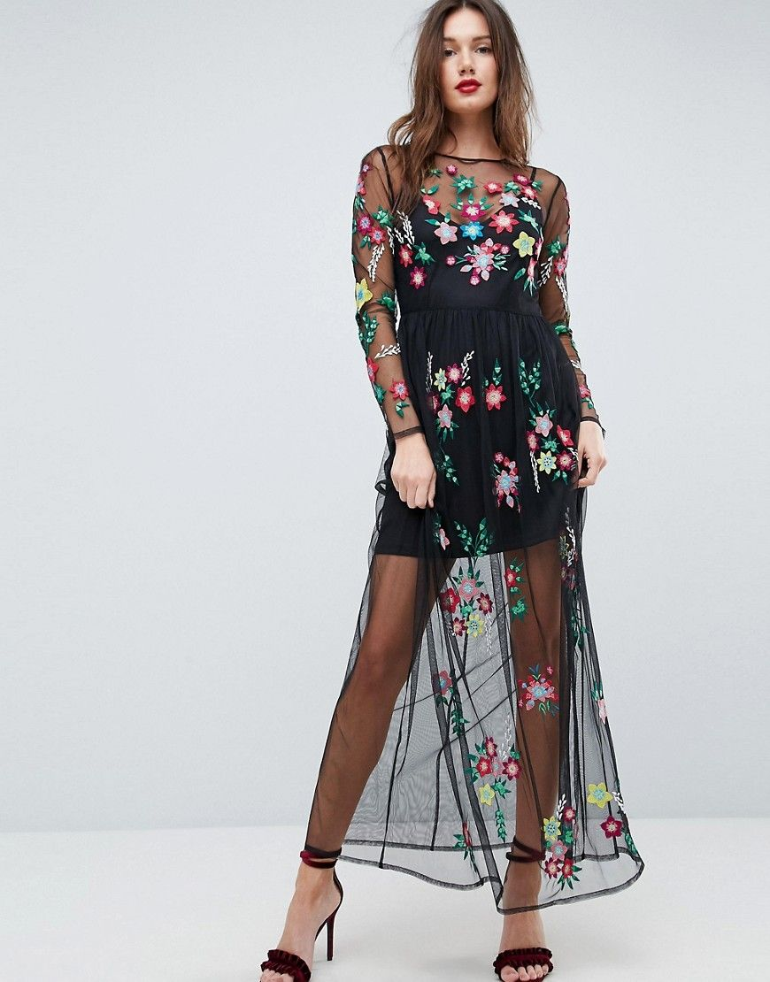 Asos Premium Mesh Maxi Dress With Floral Embroidery Black Mesh Maxi Dress Maxi Dress Maxi Dress Prom [ 1110 x 870 Pixel ]