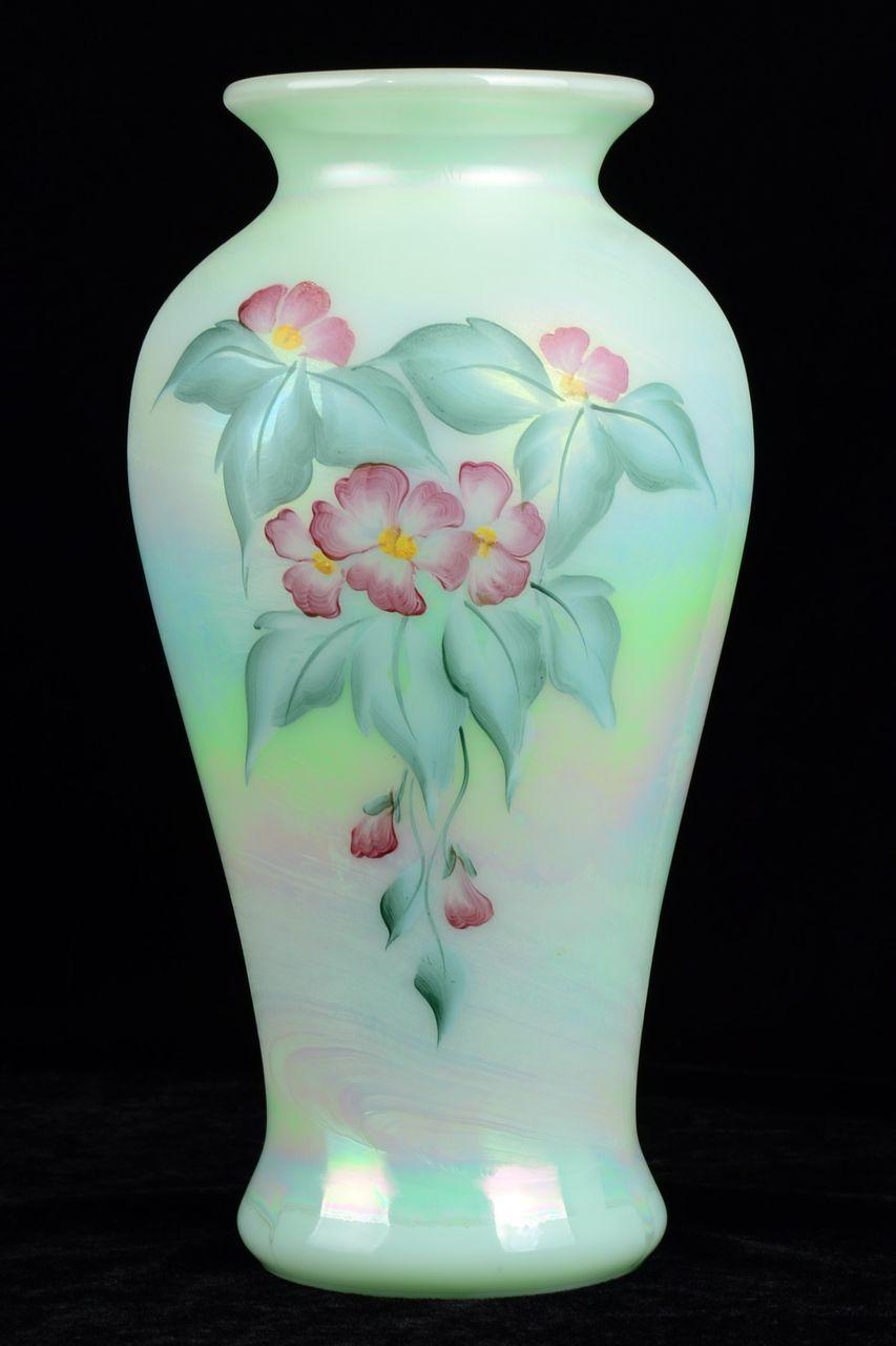 Fenton Opalescence Flower Design Vase Hand Painted By Sue Jackson Hand Painted Vases Flower Designs Glass Art