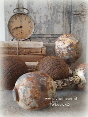 Vintage Clock and Rusty Dumbbells