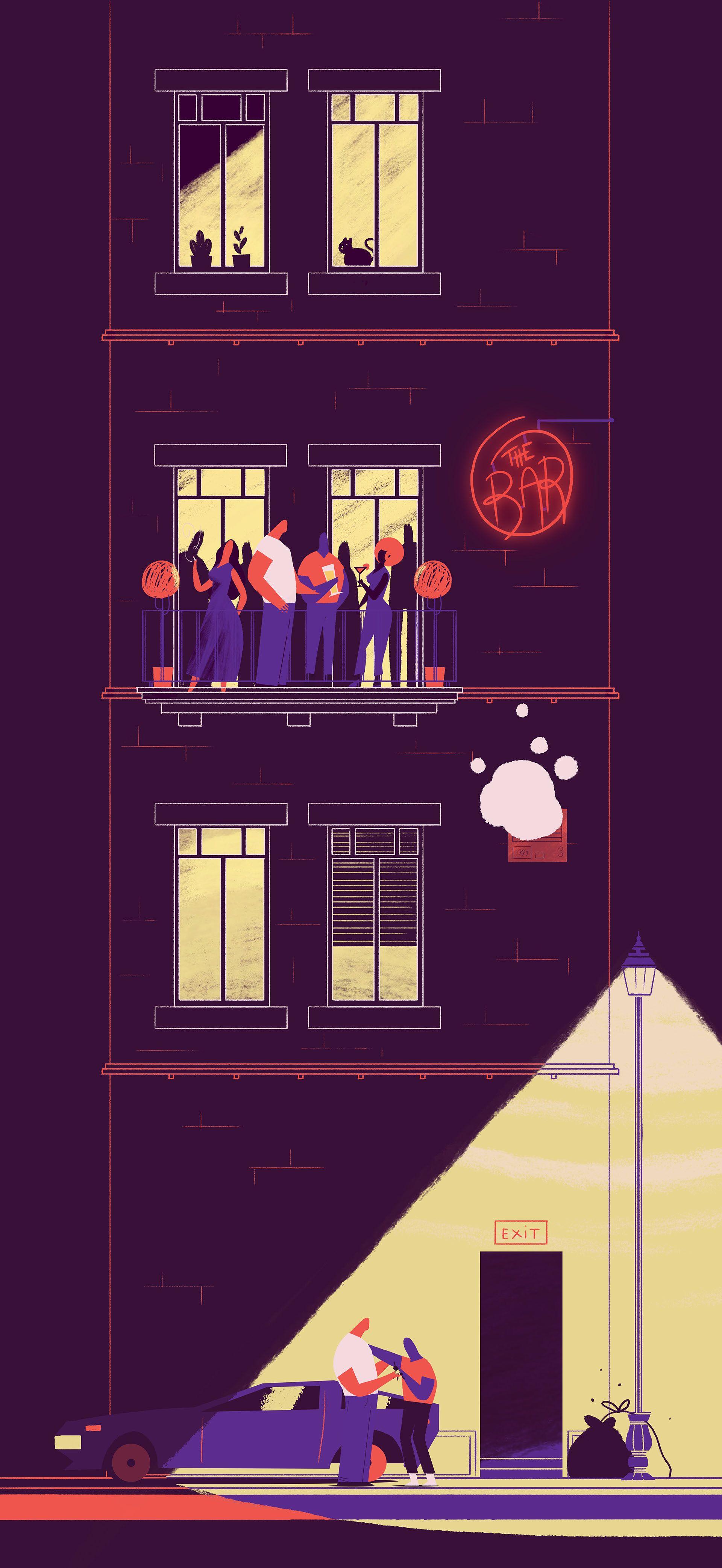Purple Drive Storyboard On Behance Behance Ilustraciones Ilustraciones Planas