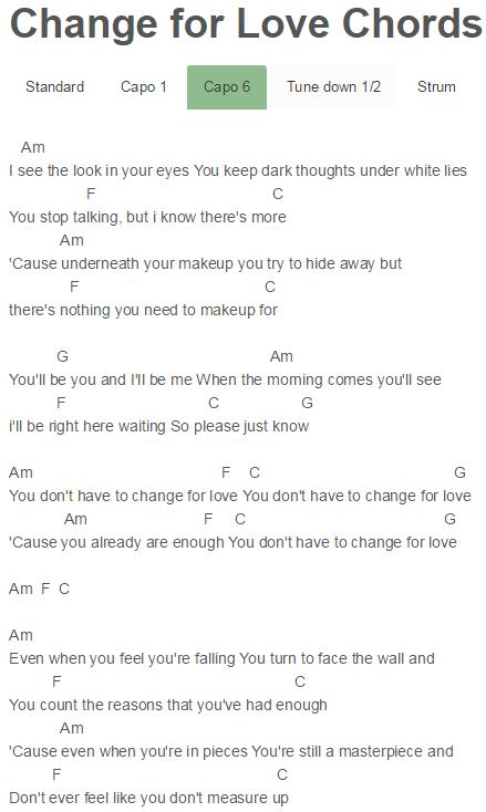 Change for Love Chords Little Sea | Little Sea | Pinterest | Change ...