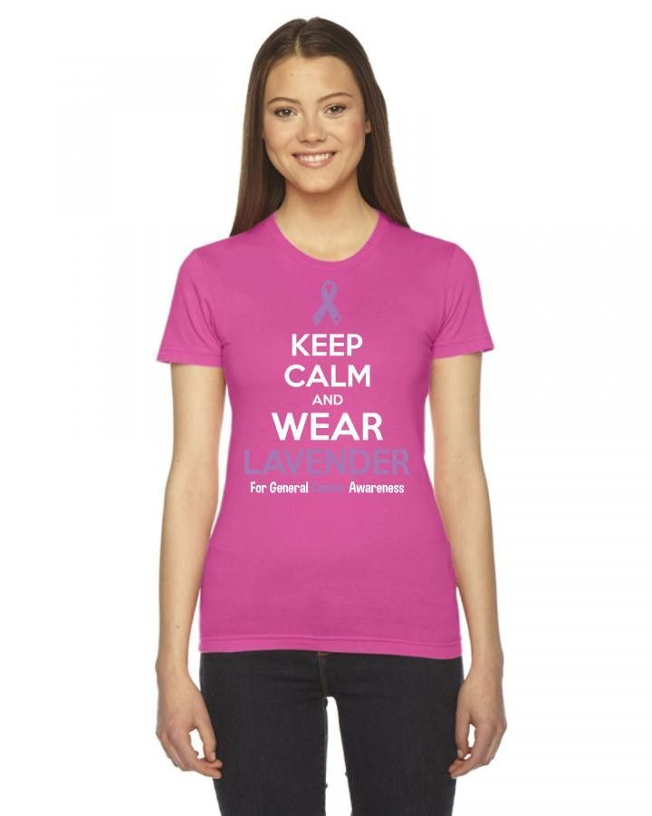 keep calm and wear lavender for general cancer awareness 1 Ladies Fitted T-Shirt