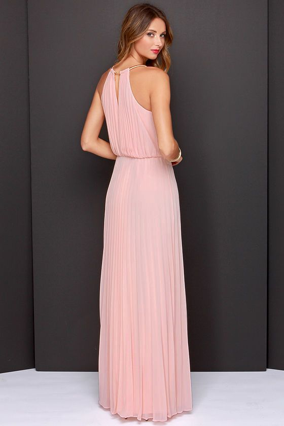 9625be9f4dbcf8 Pink Sleeveless Halter Pleated Maxi Dress - Sheinside.com