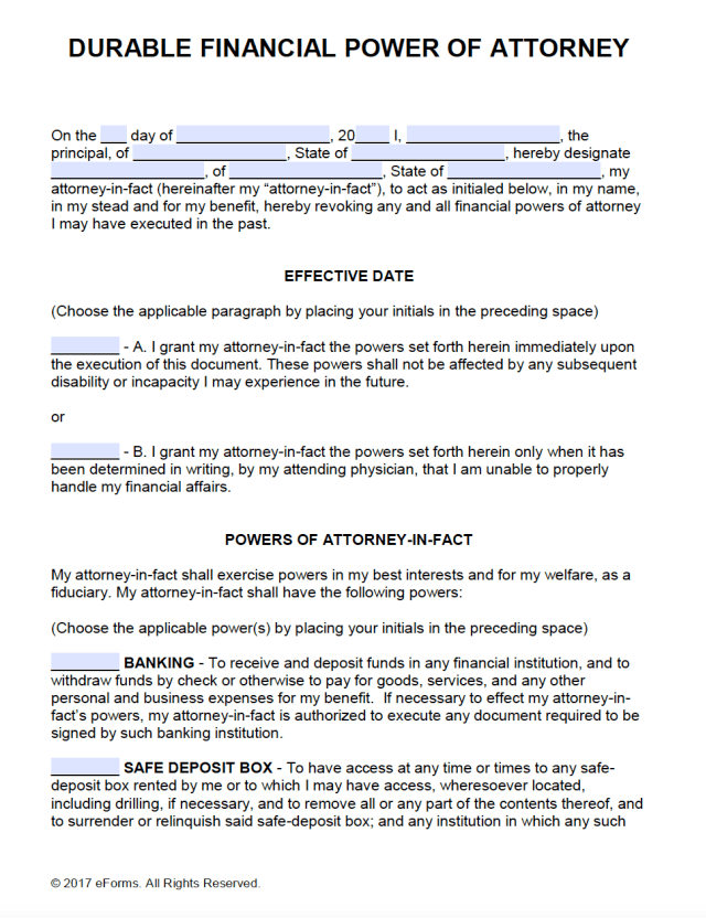 durable power of attorney form  7+ Durable Power of Attorney Form Templates Download ...