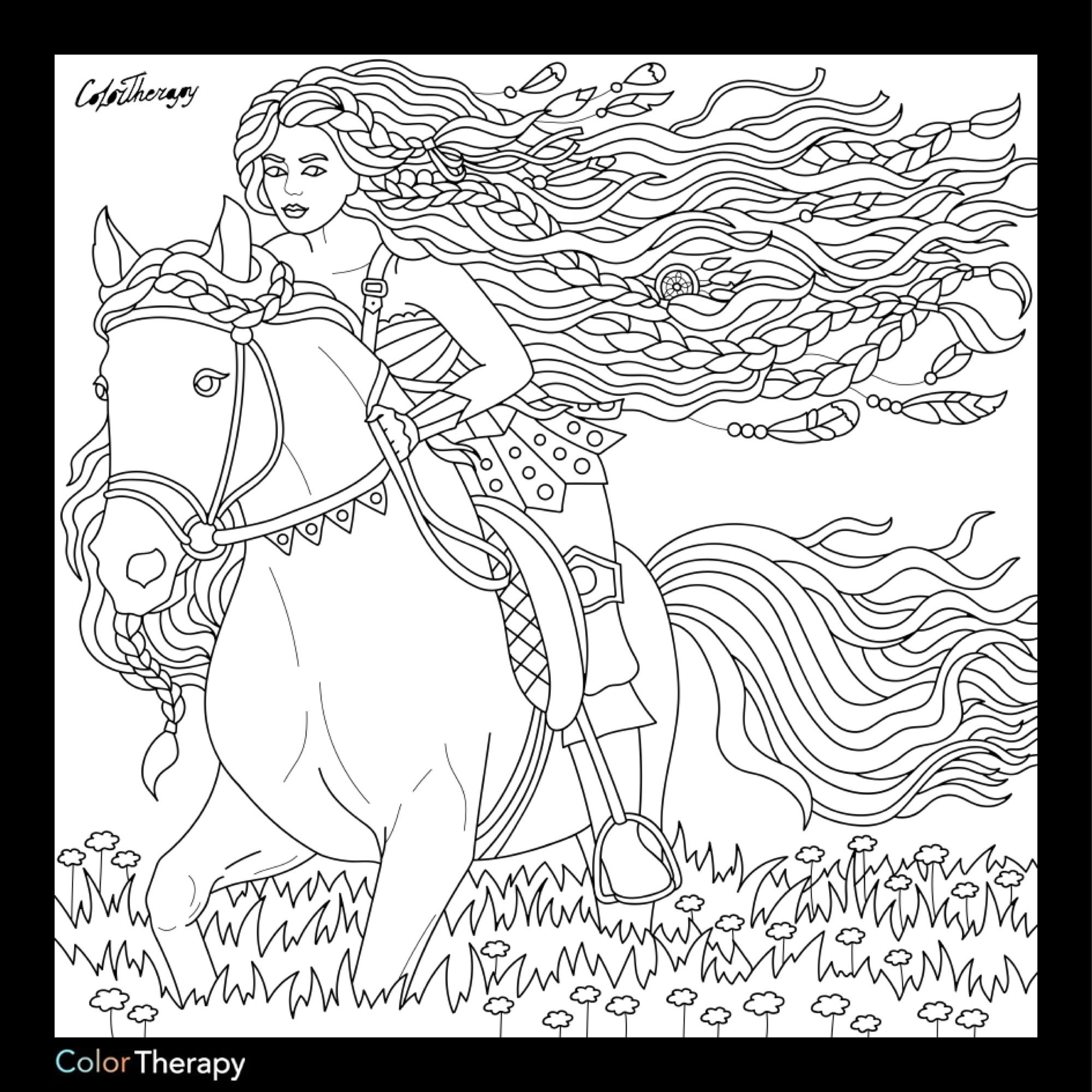 on horseback coloring page coloring pages for adults