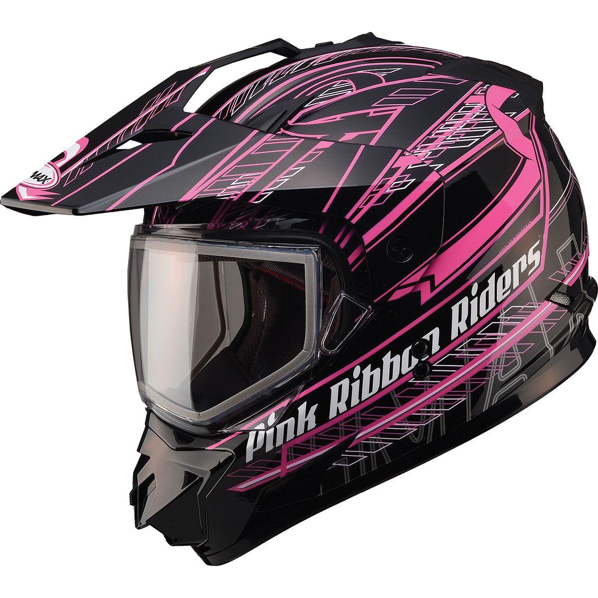 Gmax Gm11s Pink Ribbon Snow Sport Snowmobile Helmet Snowmobile Helmets Snowmobile Motorcycle Riding Gear