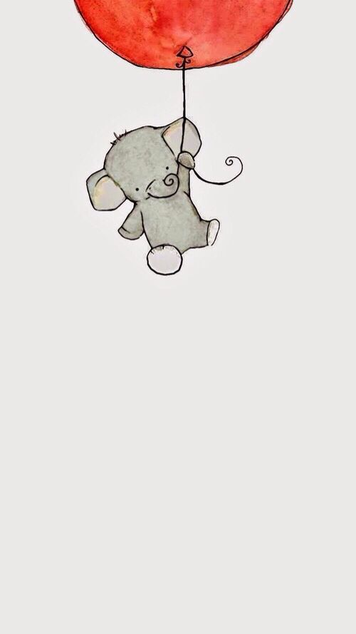 Baby Elephant IPhone Wallpaper Cute Animal Drawings Drawing Doodle