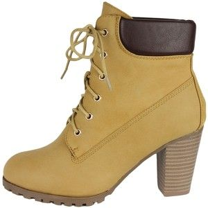 Womens Faux Leather Lace Up Rugged High Heel Ankle Boots Camel