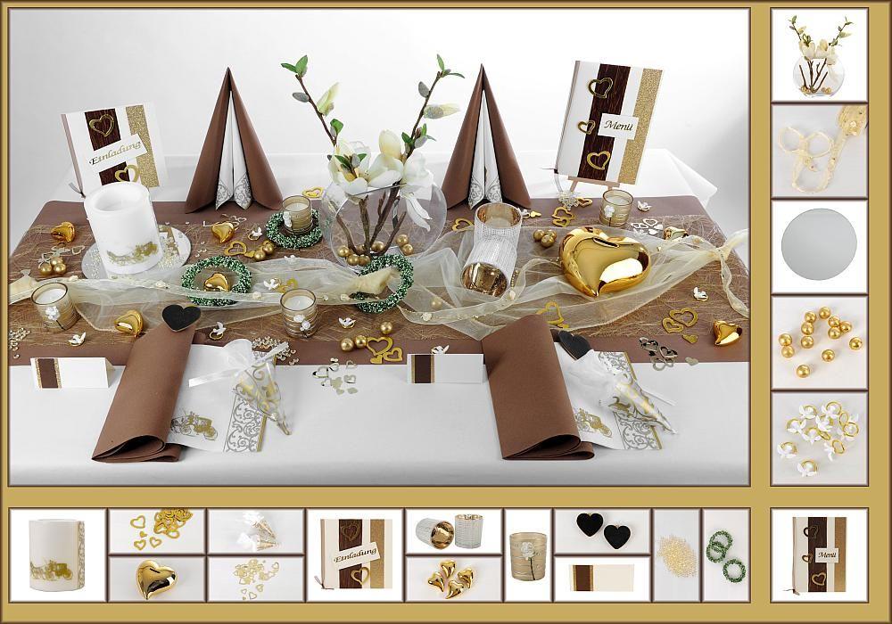 Tischdeko Hochzeit 8 in Braun/Gold als Mustertisch ...