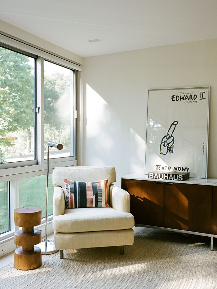 Modern guesthouse renovation in New York with Wormley armchair and