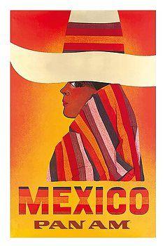 Mexico - Pan American Airlines (PAA) - Vintage Airline Travel Poster c.1968, mexico travel poster,vintage travel poster,vintage pan am,retro poster,poster art,charro,collectible,ephemera,native,indigenous,mexico travel,mexican woman