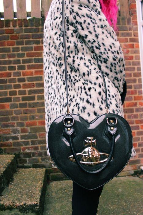 black heart shaped purse