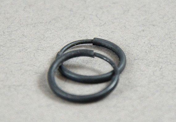 Small Black Hoop Earrings For Men Or Women By Gioiellijewelry 14 00