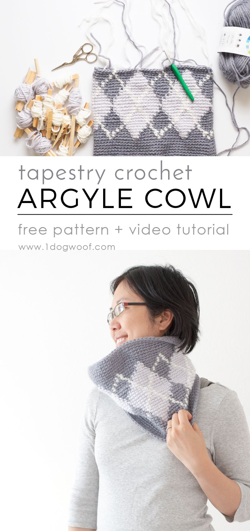 Silverstone Argyle Cowl Using Tapestry Crochet | Patrones mujer ...