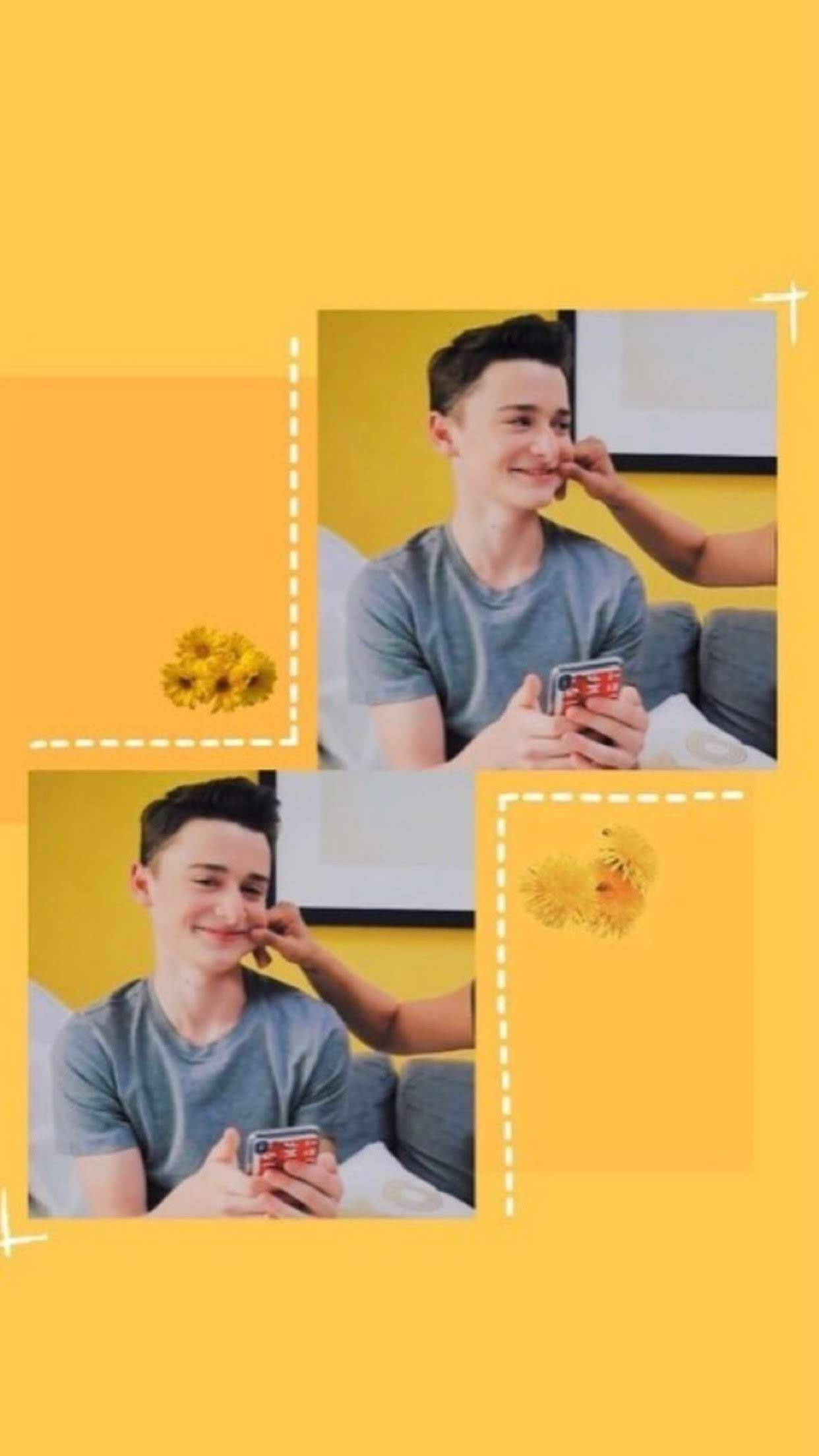 yellow 'aesthetic' wallpaper of noah schnapp (With images