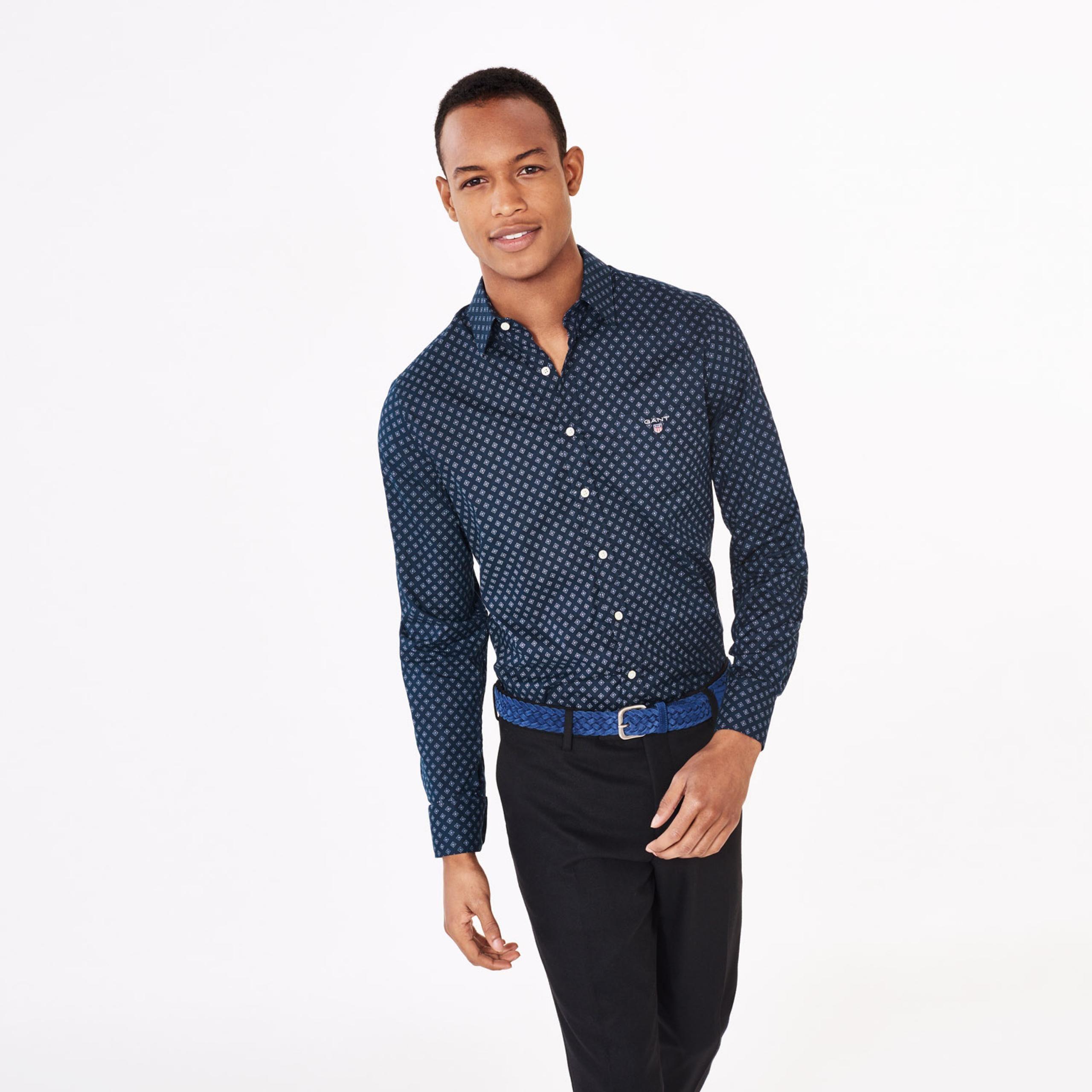 GANT: Blue Slim Fit Foulard Print Shirt men | GANT USA Store