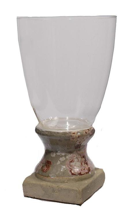"""12"""""""" Vintage Rose Antique-Style Olive Tan Floral Hurricane Vase Candle Holder"""
