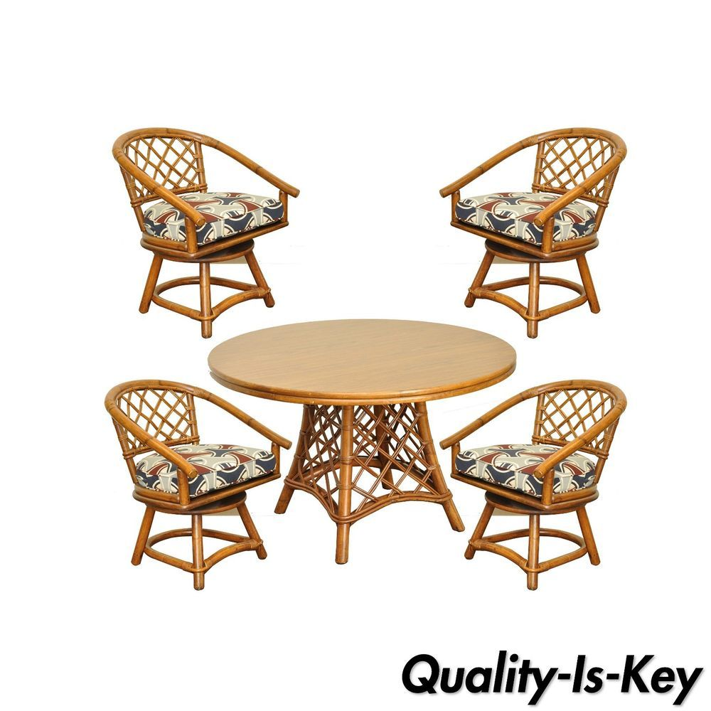 Vtg Ficks Reed Mid Century Modern Rattan Bamboo Dining Set Round ... for Modern Bamboo Dining Table  29dqh