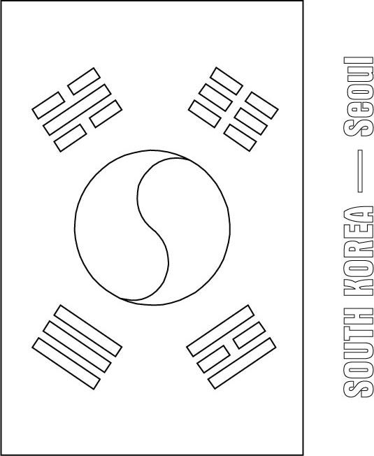 Korea Coloring Page South Korea Flag Coloring Jpg South