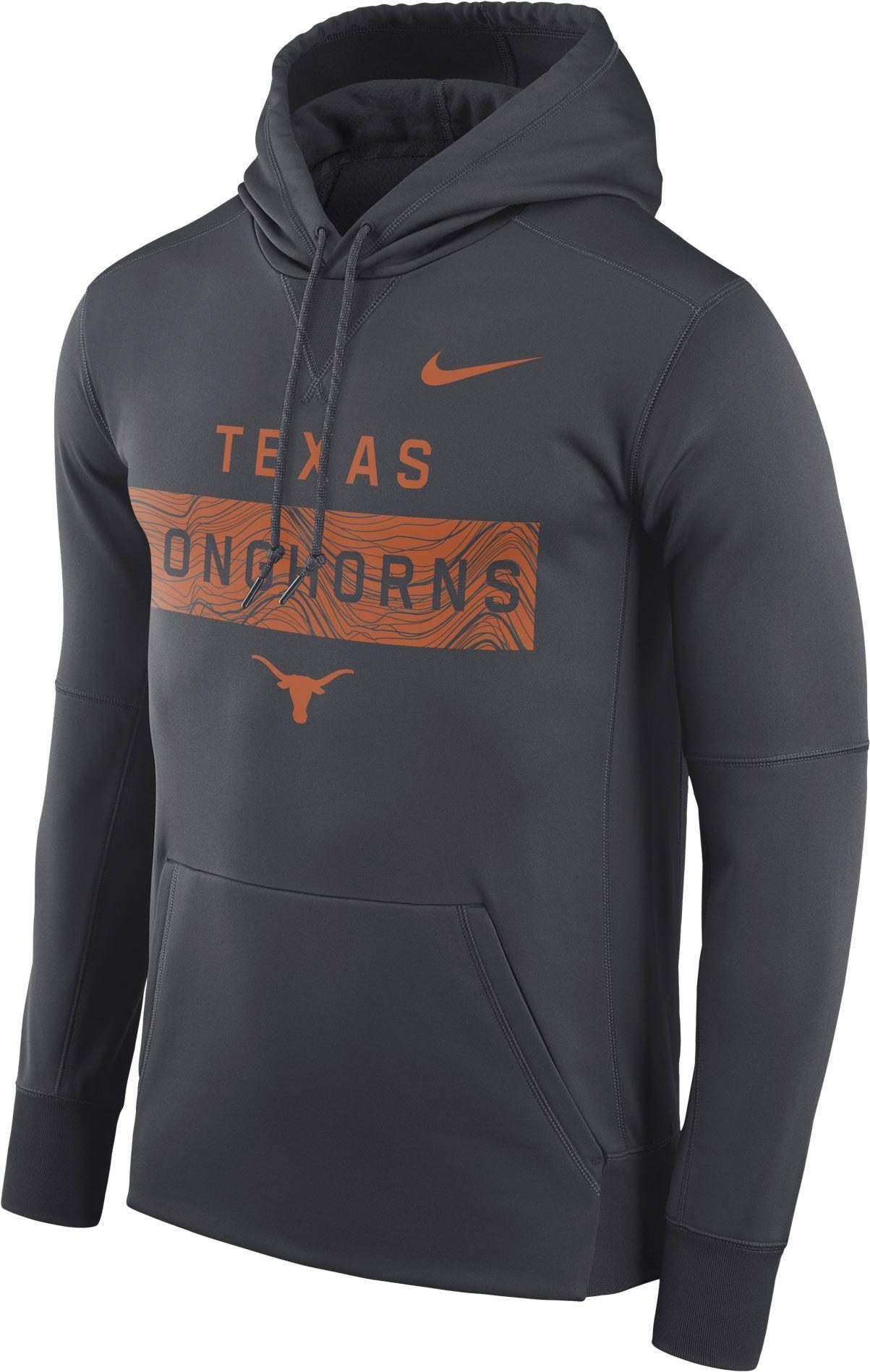 fe5b6b359d7f Nike Men s Texas Longhorns Grey Therma-FIT Pullover Sideline Hoodie ...