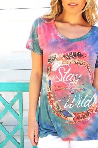 Tie Dye Stay Wild Top