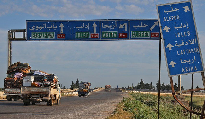 النصرة تحرض متظاهرين في ادلب على قطع طريق أريحا Highway Signs Aleppo Bab
