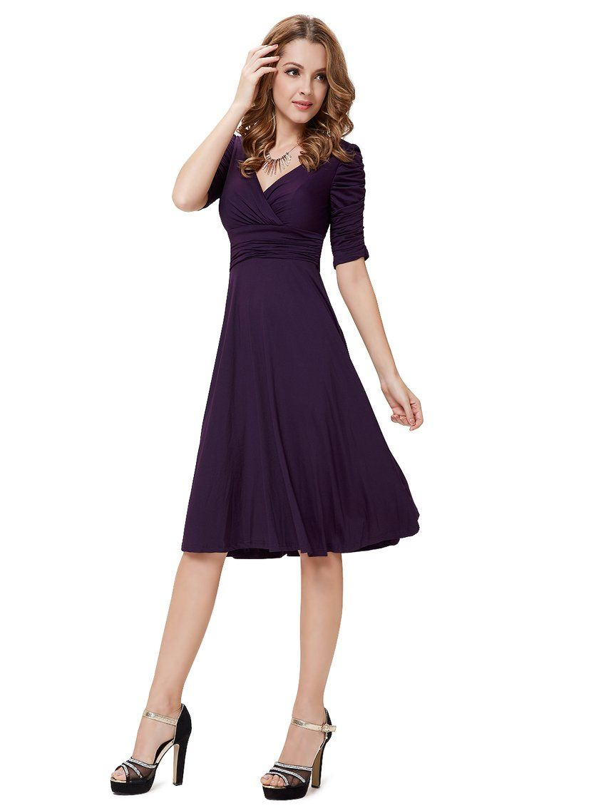 Ever Pretty Womens Wedding Guest Dresses With Sleeves 6 US Navy Blue ...