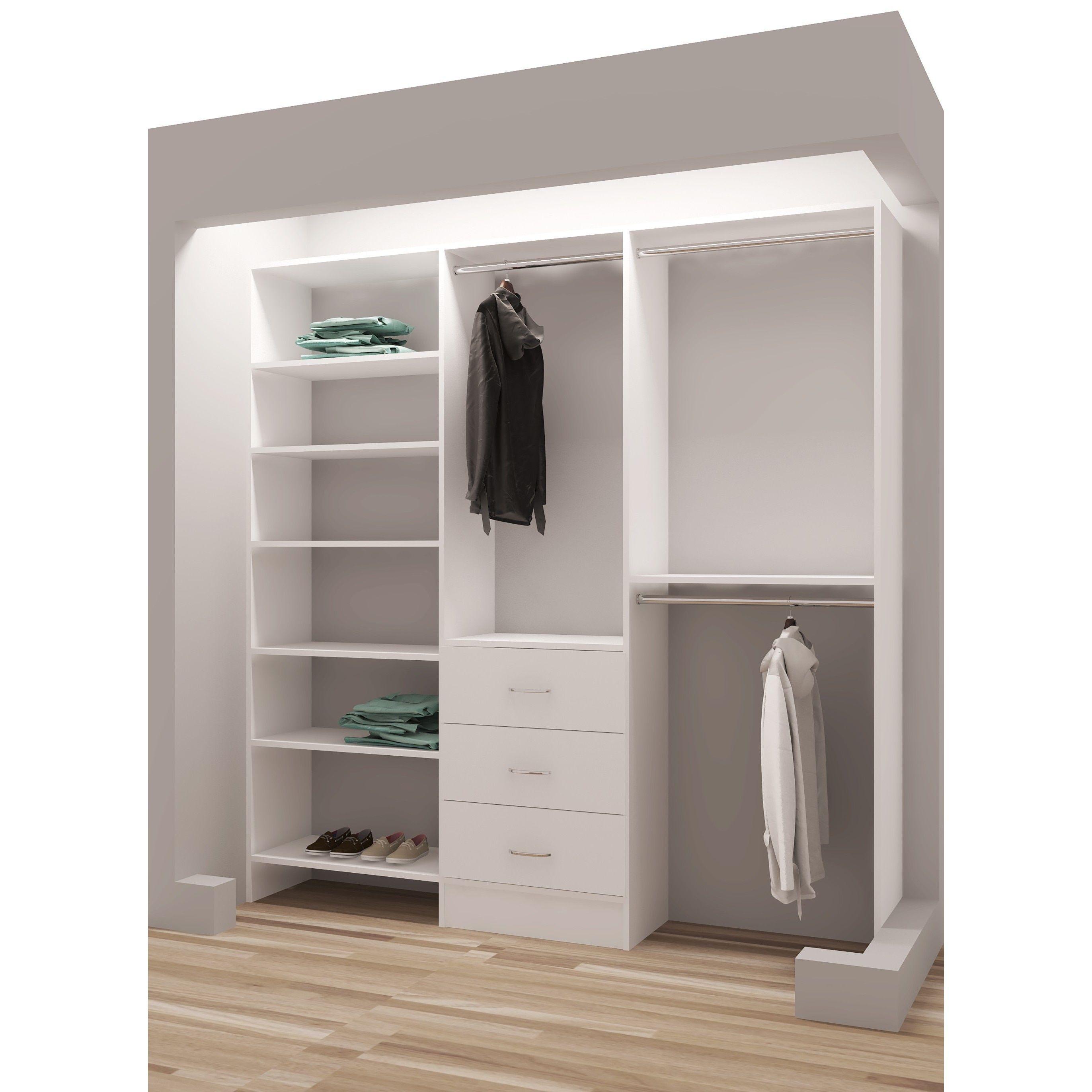 TidySquares Classic White Wood 75-inch Reach-in Closet Organizer ...