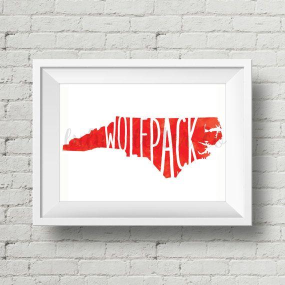 Nc State Wolfpack Watercolor Digital Art Printable Digital Art Prints Screen Printing Designs Nc State Wolfpack