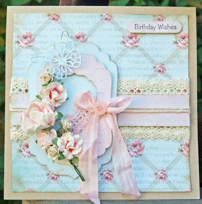 handmade card ... shabby chic ... color challenge with pale colors of aqua, rose pink and creamy brown ... delightful card ...