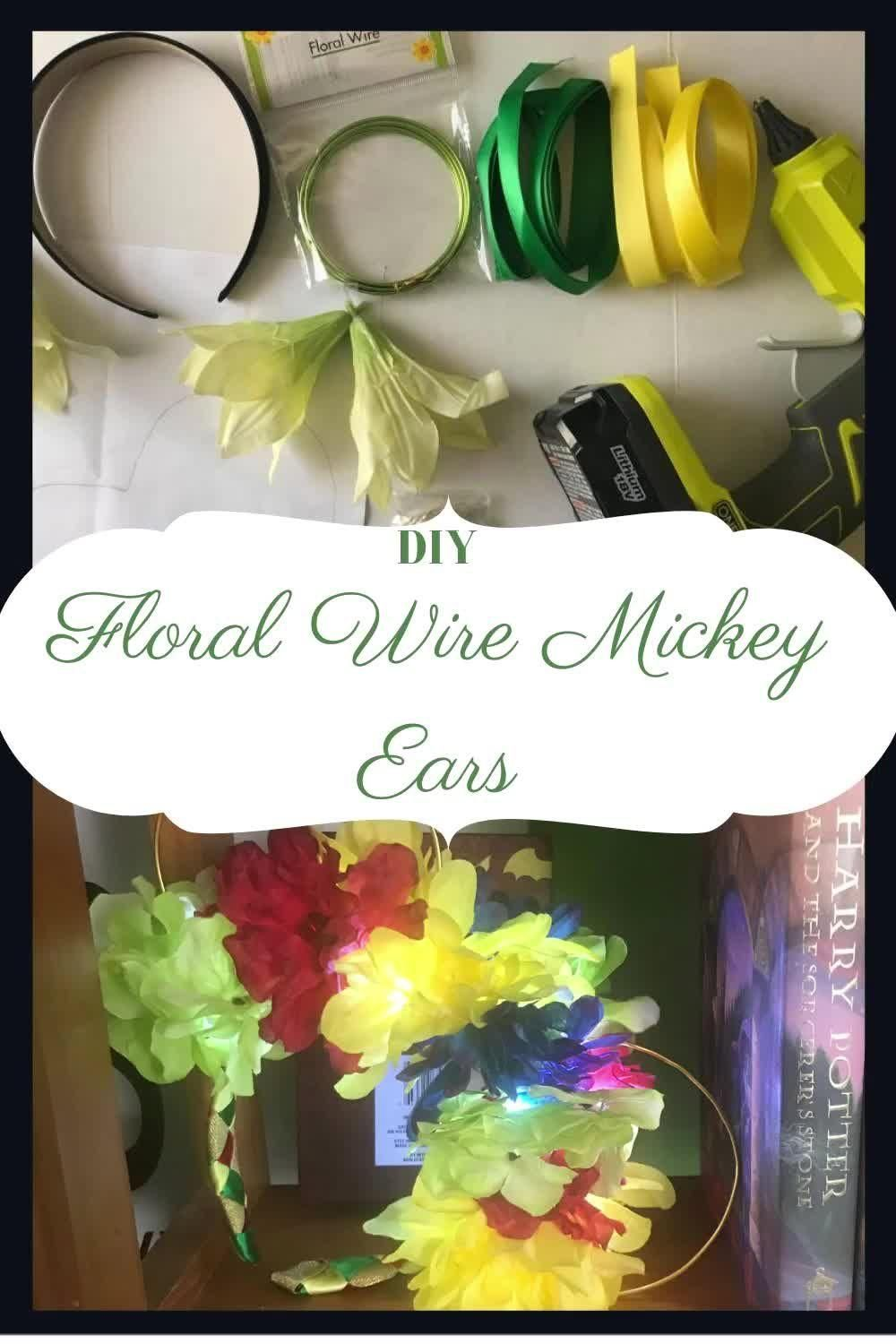 I walk you through step by step to create your very own Mickey Floral Ears! You can personalize these by changing the flowers and color of the headband ribbon! #diy #crafts #blog #disney #disneycrafts #blogcrafts #diyblog