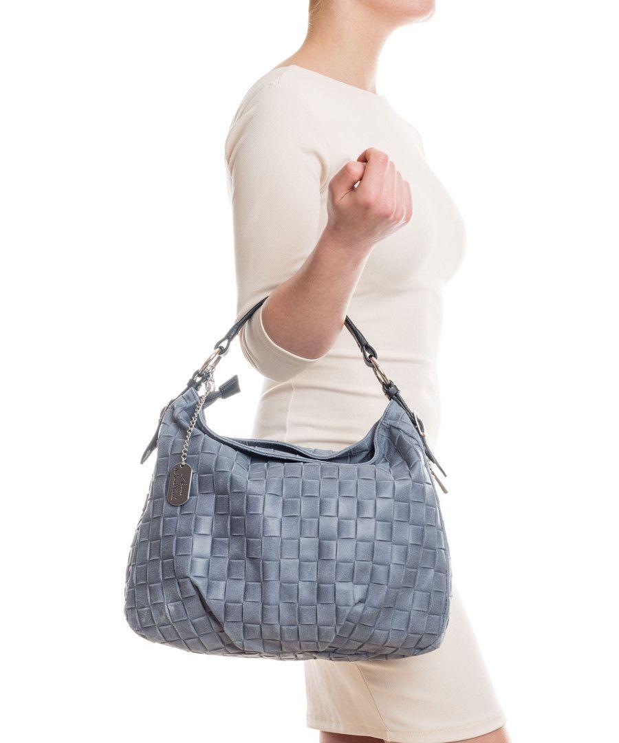 Discount Blue leather weave-effect shoulder bag  7f9993b695877