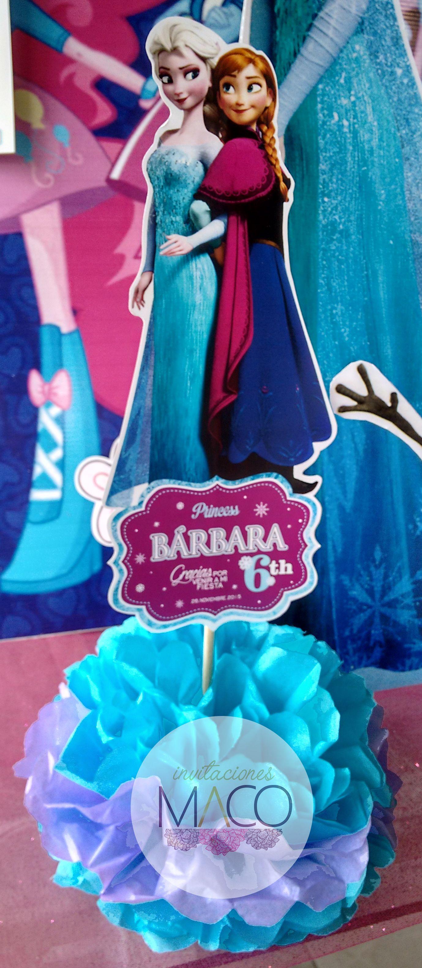 Centro de mesa Frozen Ana & Elsa pom-pom
