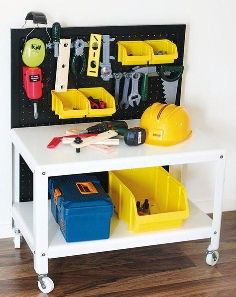 ikea hack baut eine kinder werkbank aus einem couchtisch upcycle pinterest werkbank f r. Black Bedroom Furniture Sets. Home Design Ideas