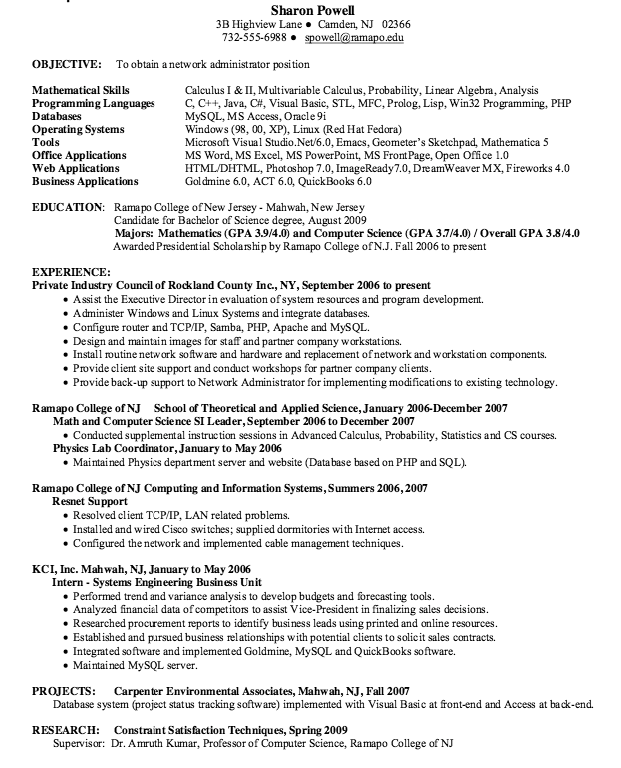 Example Of Housekeeping Resume Resume Network Administrator  Httpresumesdesignresume .