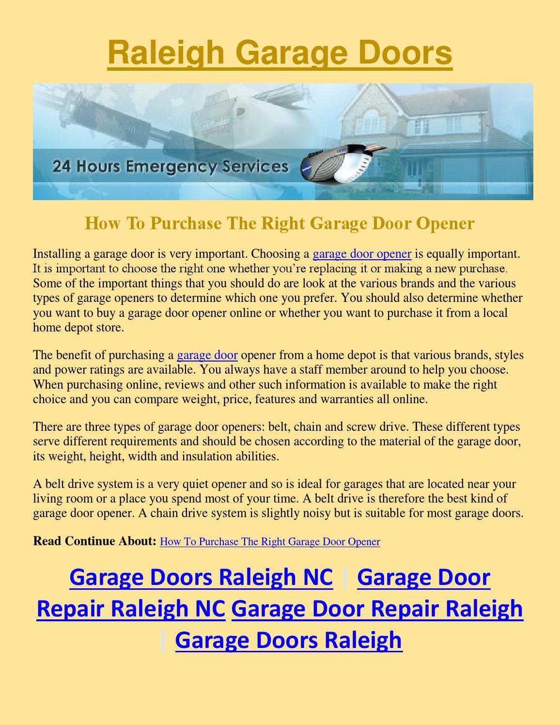 Garage Door Repair Raleigh Nc: How To Purchase The Right Garage Door Opener  Installing A Garage Door Is Very Important. Choosing A Garage Door Opener  Is ...