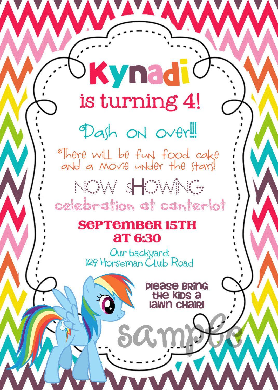 My Little Pony Chevron Rainbow dash printable birthday invitation ...