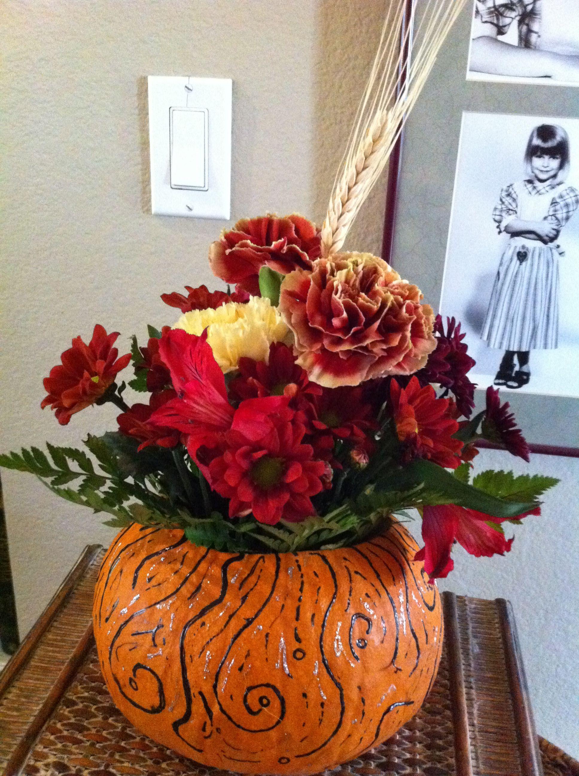 Pumpkin arrangement (Ali's) for Whitney's shower.