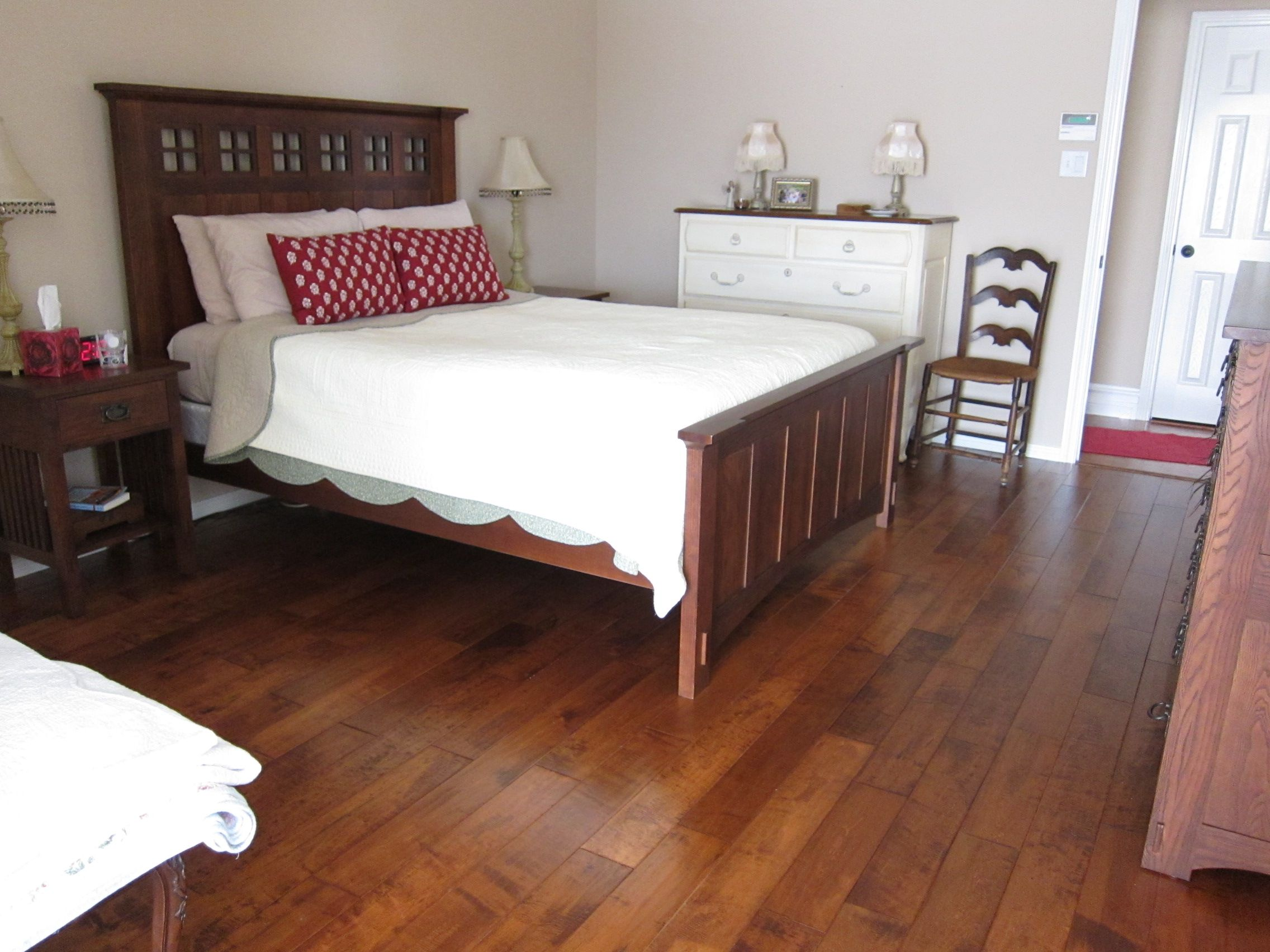 Splendid Teak Wood Master Bed Frames With White Covering Beds As