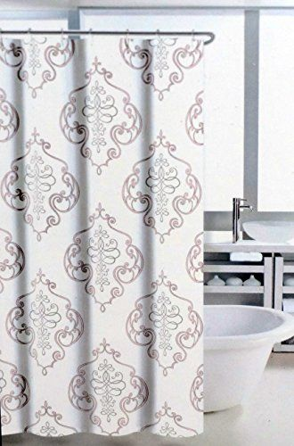 Nicole Miller Regal Medallion Fabric Shower Curtain Gray And Pink