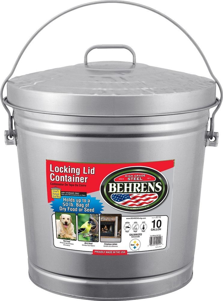 Behrens 10 Gallon Locking Lid Can Bird Seed Pet Storage Rodent Proof Wont Rust Behrens Can Seed Stora Pet Food Storage Food Storage Containers Food Animals