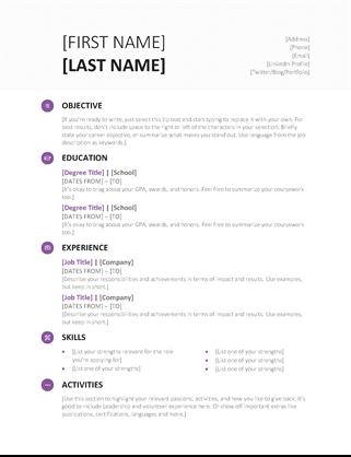 Student Resume Modern Design Free Resume Template Word Cv Template Free Resume Template Free