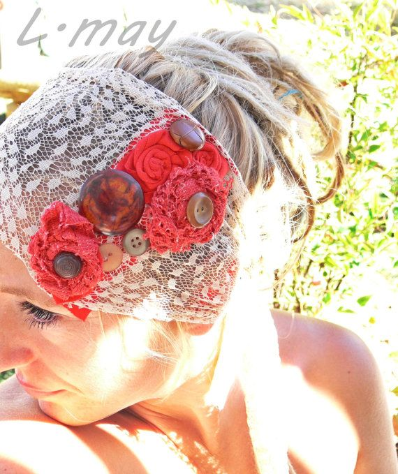 Country Wedding Hairstyles: Shabby Chic Country Wedding Hair Piece Headband By Ledamay