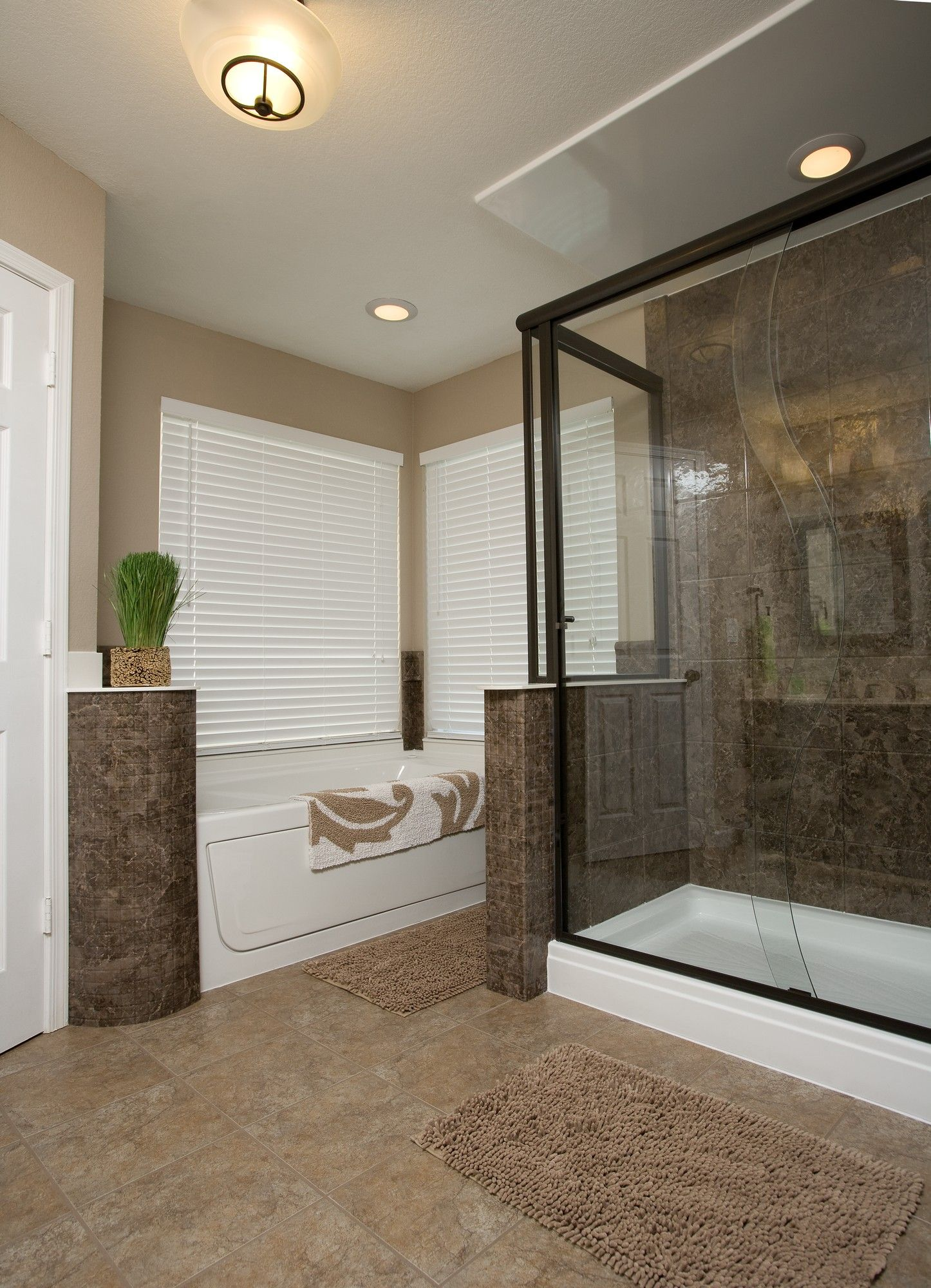 Re-Bath shower base and bathtub, featuring Mocha wall surround ...