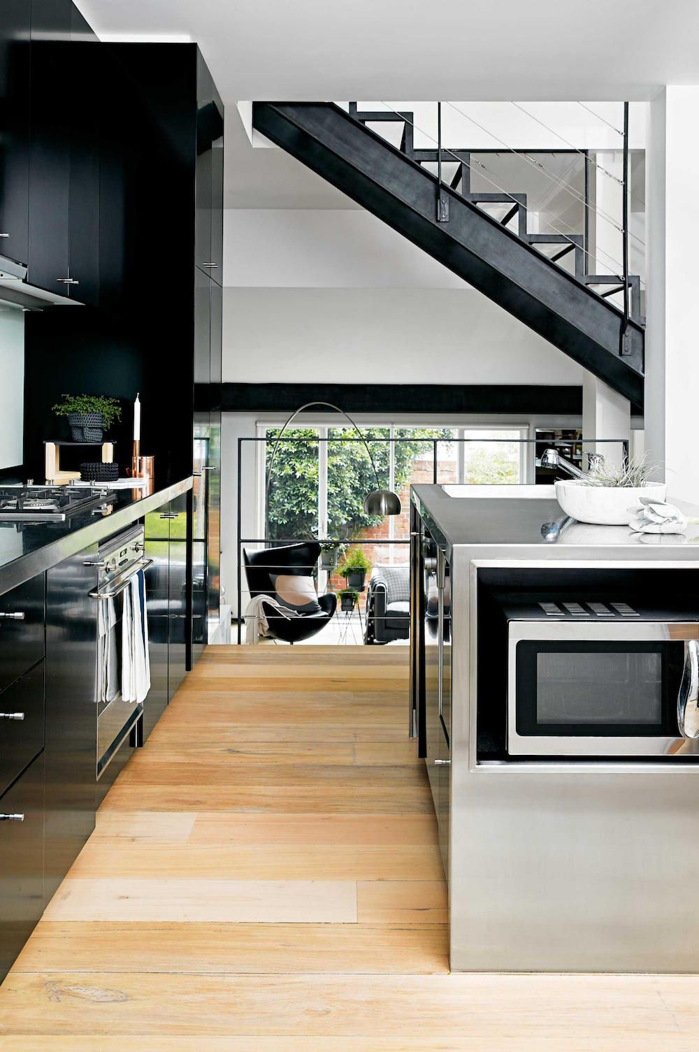 Converted warehouse home with a large and modern kitchen