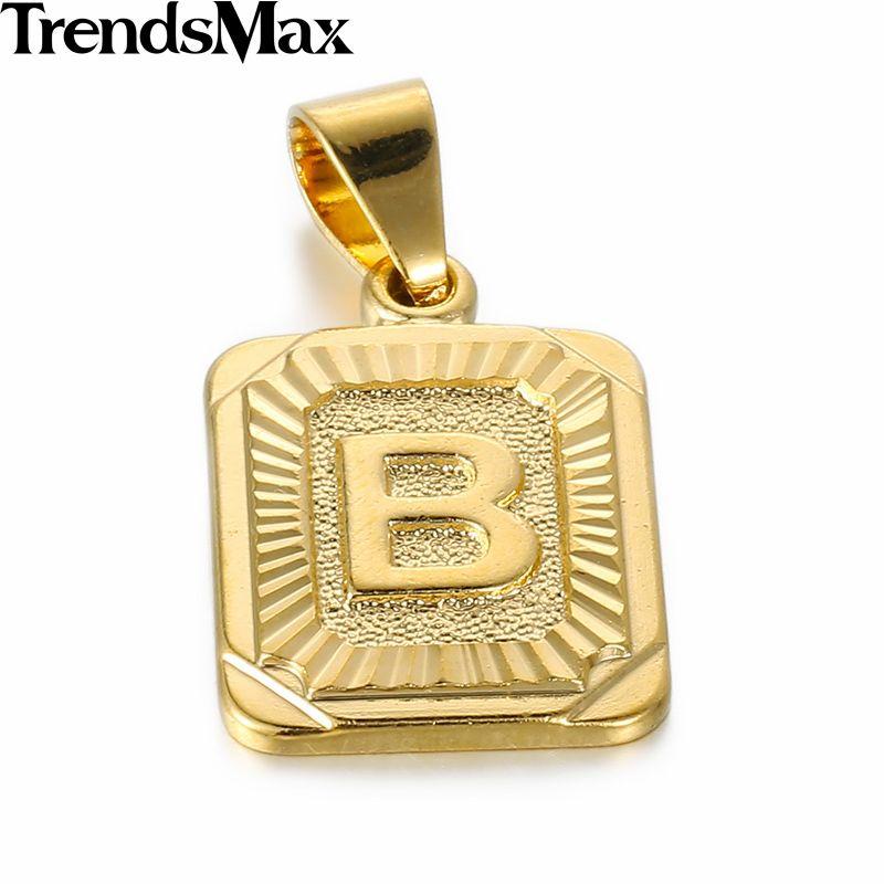 Trendsmax جودة عالية الذهب الأصفر معبأ ساحة قلادة W حرف تصميم الأزياء رجل إمرأة مجوهرات بالجملة Gp36 Square Pendant Women Wholesale Pendant Necklace